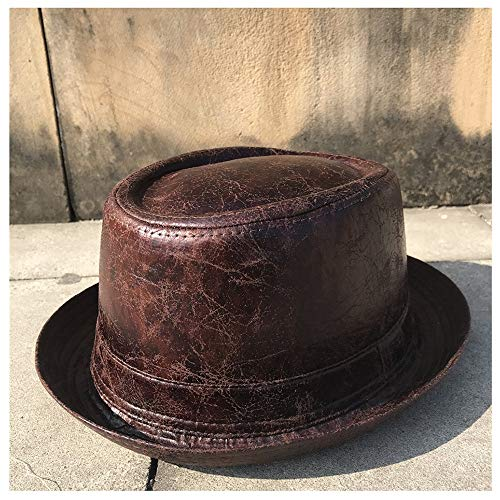 Jiangqiong Jq Pork Pie Hombres Pork Pie Pluma del Sombrero del Sombrero de Fedora papá navegante Flat Top Hat for Caballero del Sombrero de Copa Bowler Gambler Szie M L Accesorios