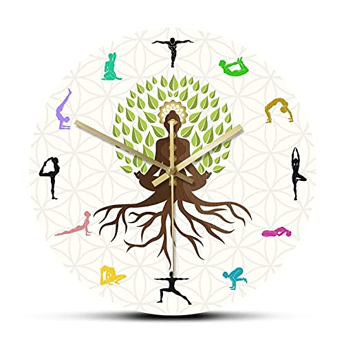 xinxin Reloj de Pared Lotus Pose Tree Reloj de Pared Decorativo Energía Natural para meditación Arte de Pared Estudio de Yoga Árbol de la Vida Reloj de Pared con Estampado Colorido