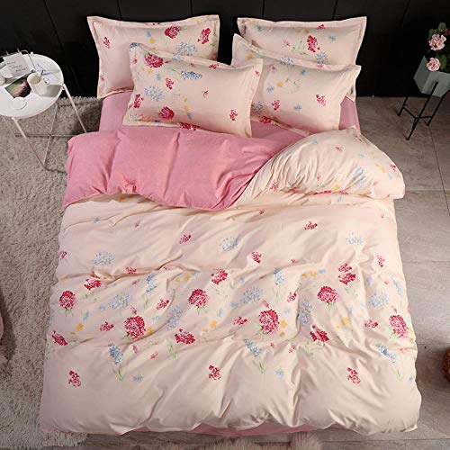 Hbvvaceo 3D Effect Printed Duvet cover Bedding Set With Pillowcase Available in Following Design & Sizes:(Pink floral pattern King 240 x 220 cm) Duvet cover Microfiber duvet cover with zipper