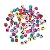 OKESYO 100 cuentas emoji con forma de emoticono, 10 mm, color resina, multicolor, perlas para manualidades, para collares, accesorios hechos a mano