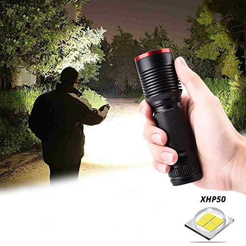 Draagbare lichtgewicht krachtige xhp50 led zaklamp, waterdichte zoom led tactische zaklamp 5 verlichtingsmodi aangedreven door 18650 of 26650 voor buitenverlichting