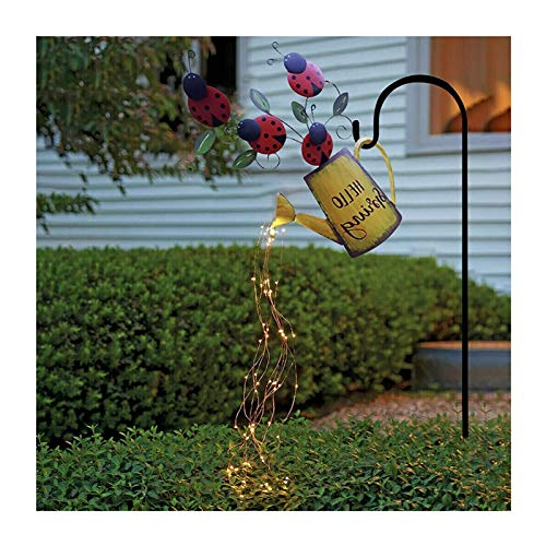 Firefly Bunch Lights, Fairy Copper Wire String Lights, Garden Art LED Light with Stake, Vine Solar Watering Can Lights, Garden Stake Lights Waterfall Outdoor Lights (Color : B)