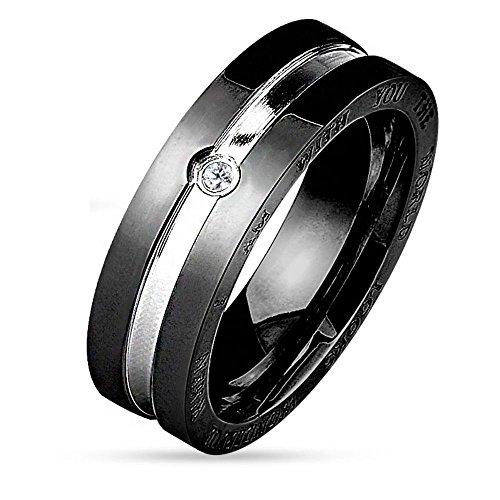 Bungsa® 57 (18.1) Couple Ringe Paarringe zweifarbig für Damen & Herren Silber-schwarz & Silber-Rosegold Edelstahl 49 bis 67 graviert Gravur (Ring Fingerring Partnerringe Verlobungsringe Trauringe)