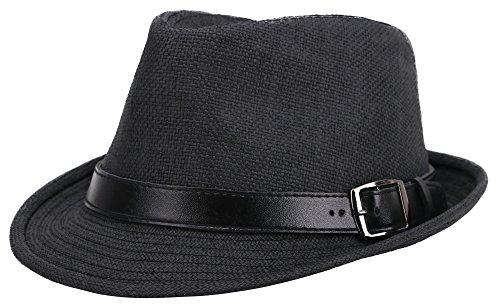 Jasmine Straw Hat Men Short Brim Miami Beach Panama Fedora Straw Hat,Black,S/M