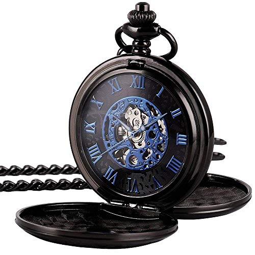 HSXQQL Taschenuhr Herren Taschenuhr Schwarz Half Hunter Double Cover Skeleton Mechanisch Blau Römische Ziffer Taschenuhr, Schwarz