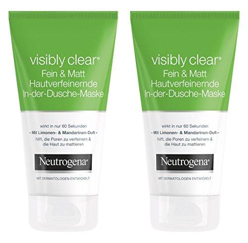 Neutrogena Visibly Clear Fein & Matt Hautverfeinernde In-Dusch-Maske - Porenverfeinernde und mattierende Gesichtsmaske mit Limone und Mandarinen-Duft - 2 x 150ml