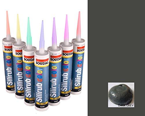Color Gris oscuro Silicona Premium Masilla Sellador de Seda Soudal 310ml
