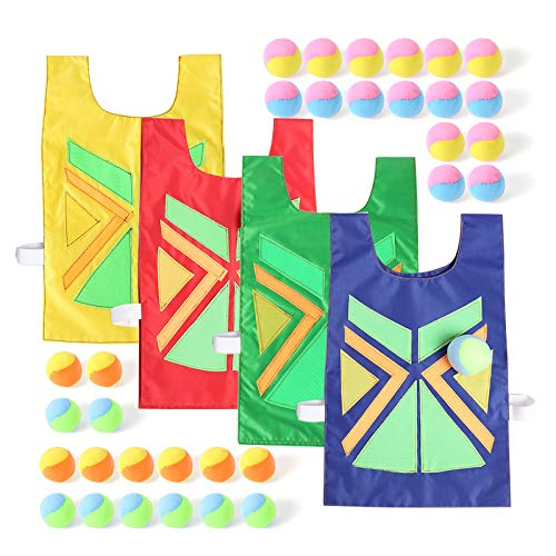 Dodgeball Tag Game Sticky Vests Set Throwing Target Game for Kids and Adults (4 Vest & 32 Ball) Outdoor Sports Catch Toss Soft Toy Balls (red Blue Green Yellow, 4)
