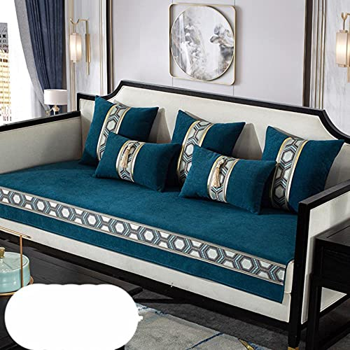 JIAYAN Chenilla Nuevo cojín de sofá de Madera Maciza China Cuatro Estaciones Universal Antideslizante cojín de Alto Grado Funda de sofá Azul, Funda de Almohada Almohada x1