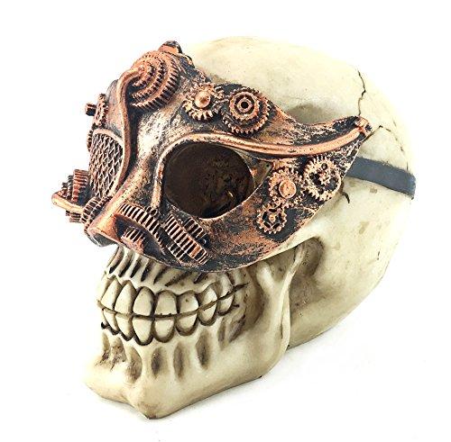 Bellaa 21017 Skull Statues Sculpture Figurine Halloween Home Decoration Ornament Mardi Gras Mask Mechanical Steampunk 6 inch