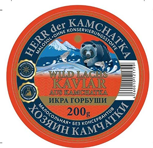 Kaviar - Herr der Kamchatka Gorbuscha Lachskaviar Premium (- 18°C) - Wildfang aus Kamchatka- 200g Dose -malossol - leicht gesalzen : Roter Kaviar ohne Konservierungsmittel - caviar - икра