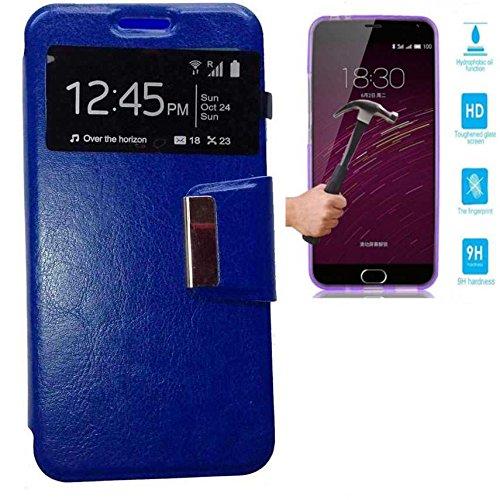 Todobarato24h Funda Libro Ventana MEIZU M3S (4G) Azul + Protector DE Cristal...