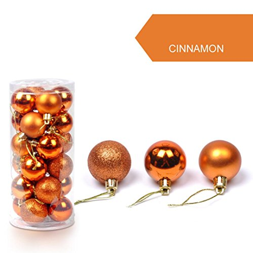 24pcs Natale Palla Opaco Glitter Albero Decorazioni Matrimonio Partito Casa Ornamento Natalizie Balls Pendente (Arancione, 8.8*6*11.8cm)