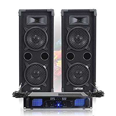 """2x MAX 2 x 6"""" Speakers EQ Power Amplifier Cables Bedroom DJ Disco Party 1200W"""