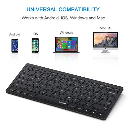 Jelly Comb Bluetooth Tastatur, Funktastatur-QWERTZ Deutsches Layout, Kabellose Tastatur für Smartphone, iPad, Tablets, PC, Android, MacOS, Windows(Schwarz)