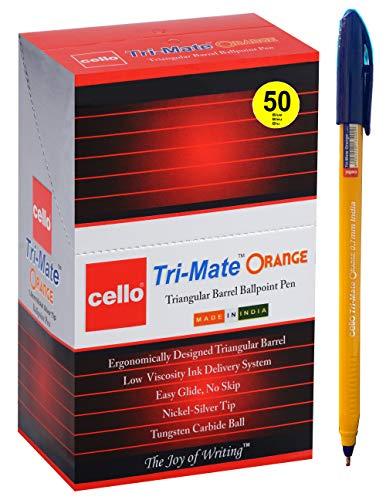 BIC Cello Tri-Mate Kugelschreiber, mittlere Spitze, Orange 50 Stück blau