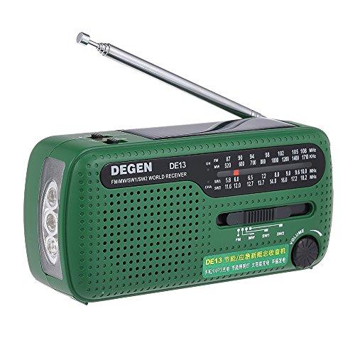 Docooler Degen DE13 UKW Radio FM MW SW Welt Bank Empfänger Taschenlampe Cranker Dynamische Solar Notradio w/Handy MP3 MP4 Ladegerät für Outdoor-Aktivitäten