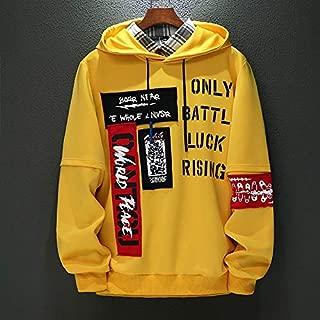 JXSHQS Autumn Thin Long-Sleeved Sweater Men's Youth Hooded T-Shirt Jacket Men's Wear Autumn Clothes Korean Version Men's Long Sleeve Sweater (Color : Yellow, Size : XXXXL)