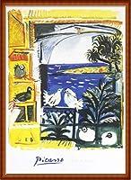 ポスター パブロ ピカソ The Pigeons 額装品 ウッドハイグレードフレーム(ナチュラル)