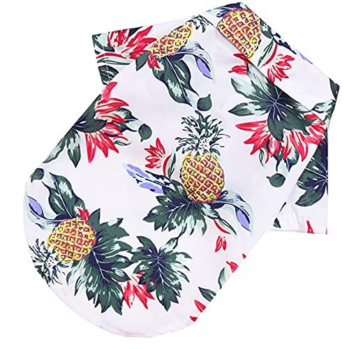 lefeindgdi - Camicia hawaiana per animali domestici, maglietta estiva estiva con albero di cocco, per cuccioli di cane e gatto