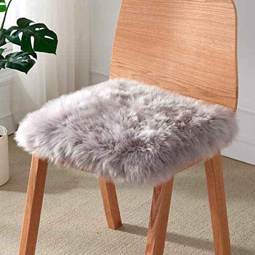 Square False Fur Soft Chair Cover,Deluxe Area Rugs for Living Bedroom Sofa Bay Window Balcony,Warm Plush Seat Pad,Sheepskin Thicken Seat Cushion