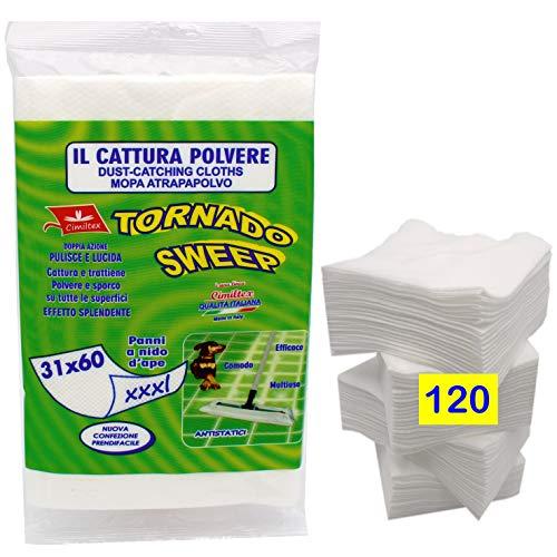 CIMILTEX 120 Panni Cattura Polvere Microfibra Tornado Sweep XXXL. Set da 10 Confezioni
