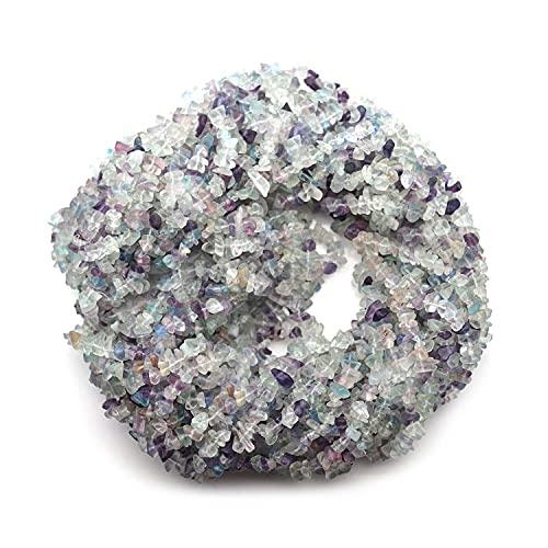 Crystallay 4-5MM de Piedras Preciosas de Multi Flourite Natural, Cuentas Sueltas de Artesanía de Piedra de viruta Irregular sin Cortar de Cristal para Hacer Joyas, 1 hebra de 36' Pulgadas