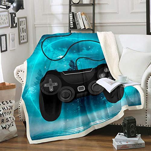 Homewish Manta de cama para videojuegos, moderna manta de felpa Gamepad, manta de videojuegos, manta de forro polar Bosque Aurora, manta de regalo, invierno, negro azul bebé 76 x 101 cm