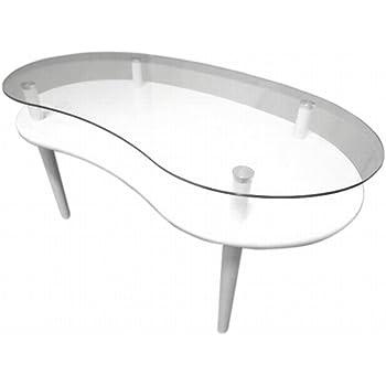 NaturalHouse 棚 付き ビーンズ 形 ガラス テーブル 棚 付き ローテーブル 棚 付 センターテーブル たな 付 机 つくえ ちゃぶ台 透明 ガラス 天板 小物 収納 ディスプレイ 可 能 90 奥行 49 高さ 39.5