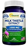 Milk Thistle Supplement 1000mg - 200 Capsules, Max Strength 4X Concentrated Extract 4:1 Milk Thistle Seed Powder Herb Pills, 1000 mg Silymarin Extract for Liver Support, Cleanse, Detox & Pure Health