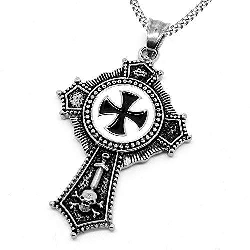 BOBIJOO JEWELRY - Medallón Colgante de Hombre de la Orden de los Caballeros Templarios, una Religiosa de Acero de la Cruz Pattee Negro