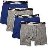 Champion Men's Elite X-Temp Boxer Briefs 4-Pack, Blue/Grey, Medium