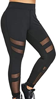 80c3dfeeebdef1 Memela Yoga pants,Women Plus Size Mid Waist Solid Mesh Patchwork Elastic Sports  Pants Trousers