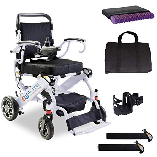 2021 Elite Foldable Electric Power Wheelchair, Ergonomic Bundle, Supports up to 265lb, Weighs only 50lb, 12 Mile-Range with 2 Batteries, Fits Any car Trunk, Safe for Air Travel, Model N5513A (White)