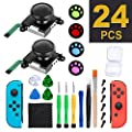 Joycon Joystick Replacement, Nintendo Switch Joy Con Grip Accessories, 3D Replacement Joystick,(24Pcs) -Include 2 Pack Switch Analog Thumb Stick,Tri-Wing,Cross Screwdriver,Pry Tools,4 Thumbstick Caps