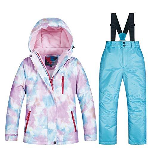 Skianzug 2019 Neue Kinder Skianzug Kinder Marken windundurchlässige wasserdicht Warm Mädchen Schnee Set Winter Ski und Snowboard-Jacke for Kinder (Farbe : RT003 Sky Blue, Size : XL)
