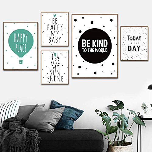 supmsds sans Cadre Art Cartoon Quotes Be Happy My Baby Nordic Poster Wall Art Canvas Prints Modern Decorative Pictures for Baby's Room 60x80cm