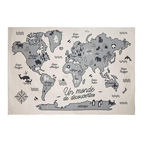 Atmosphera - Tapis décoratif Carte du Monde 150 x 100 cm Douceur Lunaire
