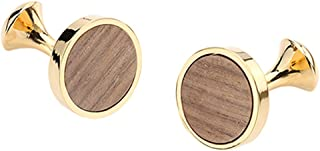 D&L Menswear Gold Plated Wood Inlay Round Cufflinks with Black Gift Box