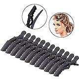 12 PCS Salon de coiffure Pince à cheveux sectionnement pince en épingle à cheveux poignée accessoires outils 2 couleurs(noir)