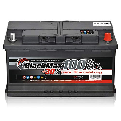 BlackMax Autobatterie 12V 100Ah 830A Starterbatterie MAX100 +30 Edition ersetzt 85Ah 88Ah 92Ah 95Ah