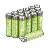 AmazonBasics - Batterie AA ricaricabili, ad alta capacità, 2400 mAh (confezione da 16), p...