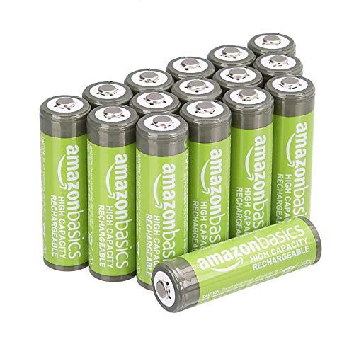 AmazonBasics – AA-Batterien mit hoher Kapazität, wiederaufladbar, 2400 mAh, 16 Stück, vorgeladen