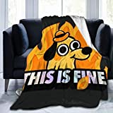 BLACK SP This is Fine Dog Meme Ultra Soft Throw Blanket Flannel Fleece Thick Bed Blanket Stylish Throw Blanket Bedroom Living Room Sofa Warm Blanket Home Decor 50'X40' for Adult Kid