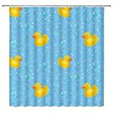 Rubber Duck Shower Curtain,Classic Cartoon Bathing Ducks Soap Bubbles Collection Plaid Stripes Fabric Bathroom Decor,Hooks Included,71 X 71 Inches,Yellow Blue