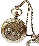 ZHANGYY Reloj de Bolsillo para Hombre, Bronce de Vid, el Mejor diseño de papá, Cadena Colgante, Reloj de Bolsillo, Regalo, Regalo para papá, Regalo para Padre