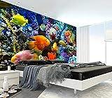Fondo de pared para TV con diseño de peces tropicales en 3D, 250 x 175 cm
