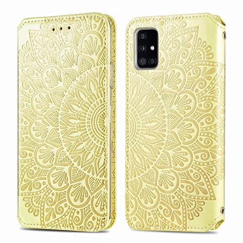 Trugox Funda de piel para Samsung Galaxy A71, con diseño de flores, con tarjetero y función atril, TRSDA140240, color amarillo
