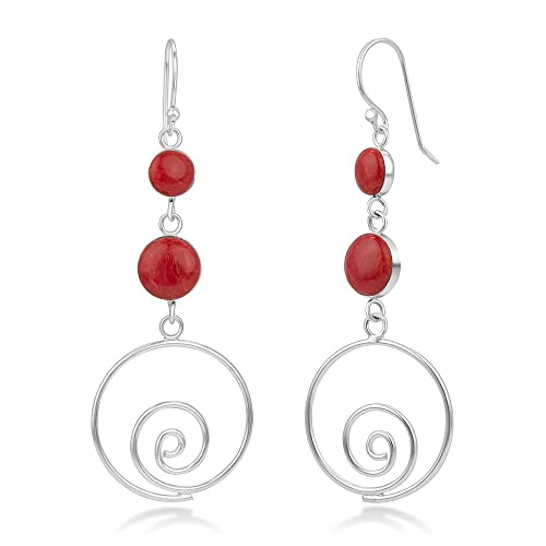 925 Sterling Silver Natural Material Inlay Swirl Round Long Drop Dangle  Earrings 2.3