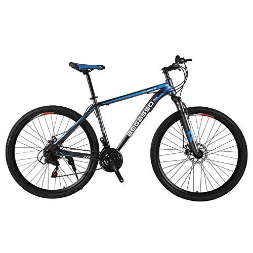 TYSYA Bicicleta Montaña 21 Velocidades Hombre Doble Freno Disco 29 Pulgadas Bicicletas Urbanas Todo Terreno Sólo Adultos Ciclismo Al Aire Libre Cabellera Dura Suspensión Delantera,Azul